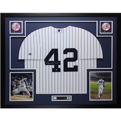 Mariano Rivera Signed New York Yankees 35x43 Custom Framed Jersey Display (Steiner COA)