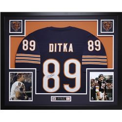Mike Ditka Signed Chicago Bears 35x43 Custom Framed Jersey Display (JSA COA)