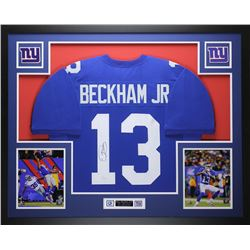 Odell Beckham Jr. Signed New York Giants 35x43 Custom Framed Jersey Display (JSA COA)