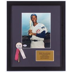 Ernie Banks Signed Chicago Cubs 16x19 Custom Framed Photo with Pin (PSA COA)