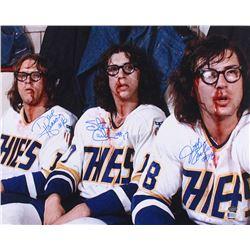 "Jeff Carlson, Steve Carlson  David Hanson Signed Hanson Brothers ""Slap Shot"" 16x20 Photo (Schwartz C"