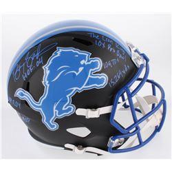 Barry Sanders Signed Detroit Lions Matte Black Full-Size Speed Helmet with (7) Inscriptions (Schwart