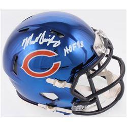 """Mike Singletary Signed Chicago Bears Chrome Speed Mini Helmet Inscribed """"HOF 98"""" (Radtke COA)"""