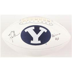 "Ty Detmer Signed BYU Cougars Logo Football Inscribed ""Heisman 90"" (Radtke COA)"