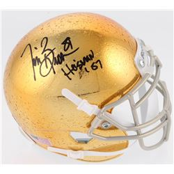 "Tim Brown Signed Notre Dame Fighting Irish Mini Helmet Inscribed ""Heisman '87"" (Radtke COA)"