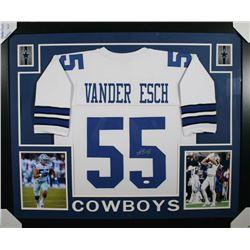 Leighton Vander Esch Signed Dallas Cowboys 35x43 Custom Framed Jersey (JSA COA)