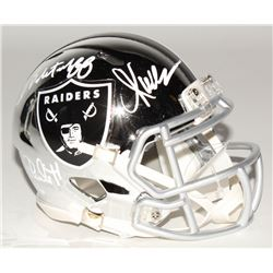 Marcus Allen, Fred Biletnikoff  Jim Plunkett Signed Oakland Raiders Chrome Speed Mini Helmet (Radtke