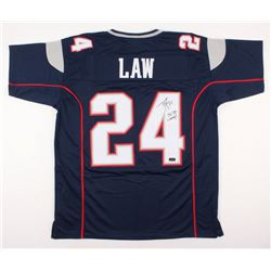 "Ty Law Signed New England Patriots Jersey Inscribed ""3x SB Champ!"" (Radtke COA)"