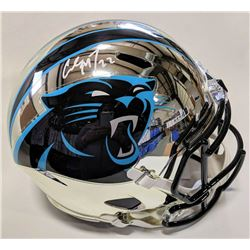 Christian McCaffrey Signed Carolina Panthers Full-Size Chrome Speed Helmet (Beckett COA)
