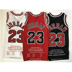 Michael Jordan Signed Set of (3) Chicago Bulls Limited Edition Career Highlight Stat Jereys (UDA COA