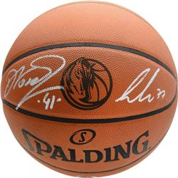 Luka Doncic  Dirk Nowitzki Signed Dallas Mavericks Logo Basketball (Fanatics Hologram)