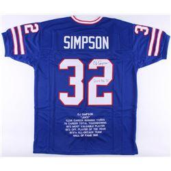 """O.J. Simpson Signed Buffalo Bills Career Highlight Stat Jersey Inscribed """"2003 Yds 73"""" (JSA COA)"""