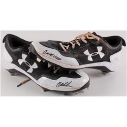 """Pair of (2) Austin Meadows Signed 2018 Game-Used Under Armour Baseball Cleats Inscribed """"Game Used"""""""