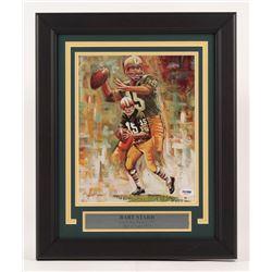 Bart Starr Signed Green Bay Packers 13.5x16.5 Custom Framed Print Display (PSA COA)