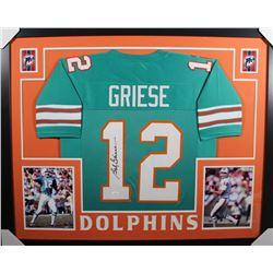 Bob Griese Signed Miami Dolphins 35x43 Custom Framed Jersey (JSA COA)