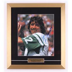 """Joe Namath Signed New York Jets 16x18 Custom Framed Photo Display Inscribed """"X12"""" (PSA LOA - Graded"""