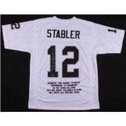 """Ken Stabler Signed Oakland Raiders Career Highlight Stat Jersey Inscribed """"Snake"""" (Radtke COA)"""