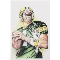 Brian Barton - Brett Favre - Packers - 12x19 Signed  Limited Edition Lithograph #/250 (PA COA)