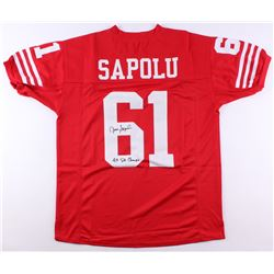 "Jesse Sapolu Signed San Francisco 49ers Jersey Inscribed ""4x SB Champs"" (JSA COA)"