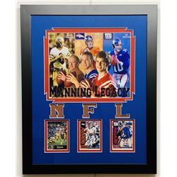 "Peyton Manning, Eli Manning  Archie Manning Signed ""Manning Legacy"" 16x20 Custom Framed Football Car"