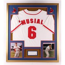 Stan Musial Signed St. Louis Cardinals 32x36 Custom Framed Cut Display (PSA COA)