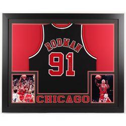 Dennis Rodman Signed Chicago Bulls 35x43 Custom Framed Jersey (JSA Hologram)