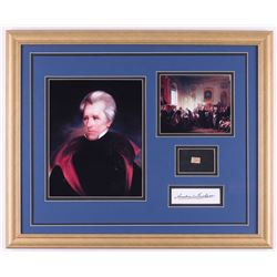 Andrew Jackson 18x22 Custom Framed Display with (1) Hand-Written Word From Letter (JSA LOA Copy)