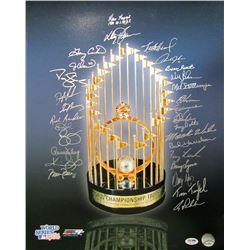 1986 New York Mets 16x20 Photo Team-Signed by (29) with Ray Knight, Davey Johnson, Gary Carter, Jess