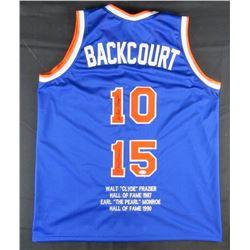 "Walt Frazier  Earl Monroe Signed New York Knicks ""Backcourt"" Career Highlight Stat Jersey (JSA Holog"