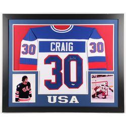 Jim Craig Signed Team USA 35x43 Custom Framed Jersey (JSA Hologram)