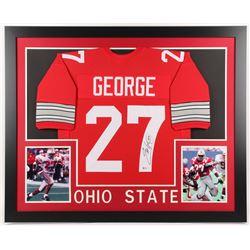 Eddie George Signed Ohio State Buckeyes 35x43 Custom Framed Jersey (Beckett COA)