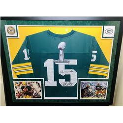 "Bart Starr Signed Green Bay Packers 34x42 Custom Framed Jersey Inscribed ""Best Wishes"", ""MVP SB I, I"