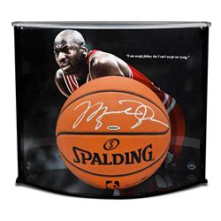"""Michael Jordan Signed Official NBA Game-Ball with Custom """"Failure Quote"""" Large Curve Display (UDA CO"""