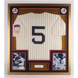 Joe DiMaggio Signed New York Yankees 32x36 Custom Framed Cut Display with Jersey (JSA LOA)