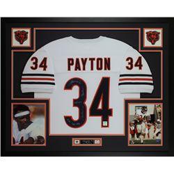 Walter Payton Signed Bears 35x43 Custom Framed Jersey Display with (5) Career Highlight Stat Inscrip