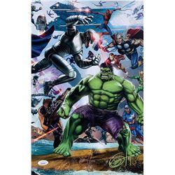 """Greg Horn Signed Marvel """"Secret Wars: Heroes"""" 11x17 Lithograph (JSA COA)"""