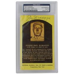 Joe DiMaggio Signed Gold Hall of Fame Plaque Postcard (PSA Encapsulated)