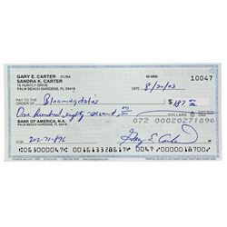 Gary Carter Signed Personal Bank Check (Sports Integrity COA)