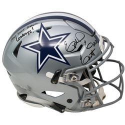 "Ezekiel Elliott Signed Dallas Cowboys Full-Size Speed Helmet Inscribed ""How Bout Them Cowboys!"" (Bec"