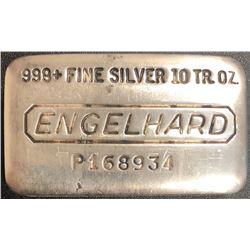 10 Troy Ounce .999 Fine Engelhard Silver Bullion Bar
