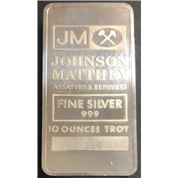 10 Troy Ounce .999 Fine JM Silver Bullion Bar