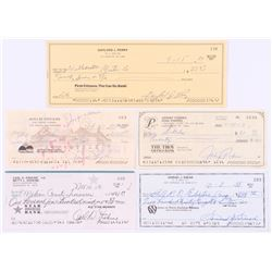 Lot of (5) Signed Personal Checks with Gaylord Perry, Carl Erskine, Sam Snead, Rollie Fingers,  John