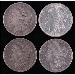 Lot of (4) Morgan Silver Dollars with 1882, 1883-O, 1888,  1921
