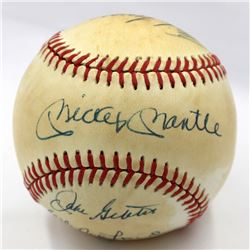 New York Yankees Hall of Famers OAL Baseball Team-Signed by (7) with Mickey Mantle, Whitey Ford, Han