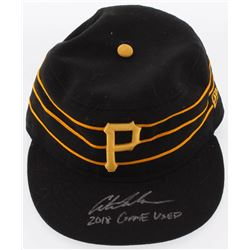 """Austin Meadows Signed Pittsburgh Pirates Game-Used New Era Fitted Baseball Hat Inscribed """"2018 Game"""