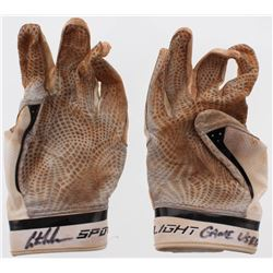 """Austin Meadows Signed Pair of (2) Game-Used Under Armour Baseball Gloves Inscribed """"Game Used"""" (Radt"""
