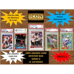 ICON AUTHENTIC  100% GRADED CARD MYSTERY BOX - SERIES 3 (Guaranteed (1) Graded PSA or Beckett card i