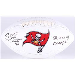 "Mike Alstott Signed Tampa Bay Buccaneers Logo Football Inscribed ""SB XXXVII Champs!"" (JSA COA)"