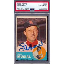 Stan Musial Signed 1963 Topps #250 (PSA Encapsulated)