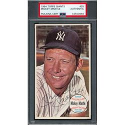 Mickey Mantle Signed 1964 Topps Giants #25 (PSA Encapsulated)